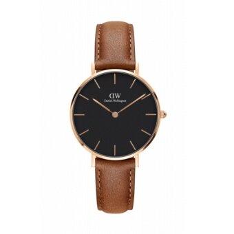 Daniel Wellington DW00100166 Classic Petite St Mawes Black Dial 32mm นาฬิกาข้อมือ แฟชั่น ผู้หญิง สายหนัง สีทองแดง. Women Watch - Silver