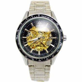 ประเทศไทย DEBOR นาฬิกาข้อมือชาย ระบบ AUTO หน้าปัดดำฉลุวงกลม กลไกสีทอง สายเหล็ก (สีดำเงิน)