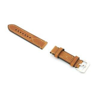 Delicate S Stitching Leather Replacement Watch Band Strap Belt 22mm For Man or Woman(Coffee Color)