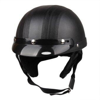 DHS Motorcycle Motor Open Face Helmet Black + Visor + Goggles