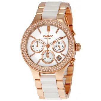 2561 DKNY นาฬิกาข้อมือสตรี เซรามิก/สแตนเลส Chronograph Ceramic รุ่น NY8183 (Rose Gold)