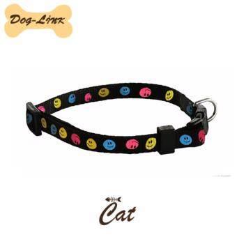 Dog-Link ปลอกคอลายหน้ายิ้ม สีดำ (แมว) ขนาด 30 ซม.