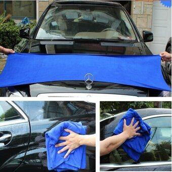 DTG ผ้าเช็ดรถไมโครไฟเบอร์ 60 x 160 cm จำนวน 2 ผืน (สีน้ำเงิน)แถมฟรี ผ้าเช็ดรถ ขนาด 30x70cm 2 ผืน รูบที่ 2