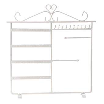 Earrings Necklace Jewelry Display Rack Metal Stand Holder (White) -intl