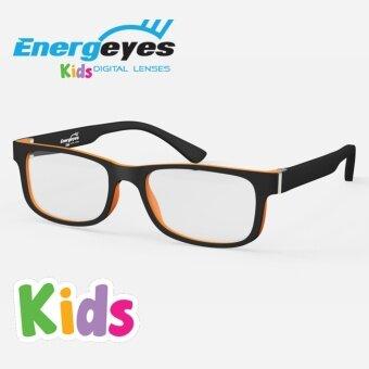ENERGEYES KIDS แว่นกรองแสงถนอมสายตาและลดแสงสีน้ำเงินลง 50% กรอบทรงสี่เหลี่ยมสำหรับเด็ก ด้านหน้าสีเทาเข้มด้าน ด้านหลังสีส้มนีโม่