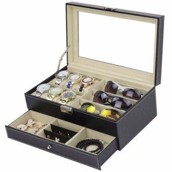 Fancybox กล่องนาฬิกาไม้บุหนัง 2 ชั้น สำหรับนาฬิกา 6 เรือน+ ใส่แว่น3 อัน + ใส่เครื่องประดับ (Black)