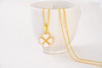 Harga Fashion Clover Heart-shaped Necklace Female Clavicle Chain- White - intl