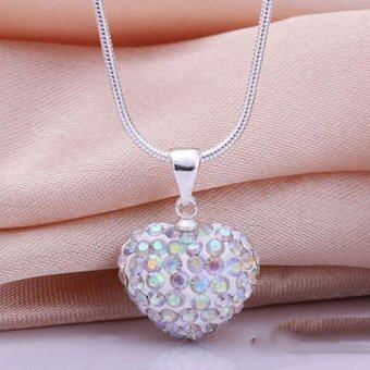 Fashion Heart Crystal 925 Sterling Silver Snake Chain Pendant Necklace Jewelry