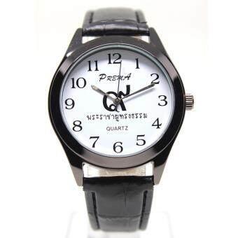 ประเทศไทย Fashion นาฬิกาข้อมือชาย,หญิง ระบบ Quartz เรือนโลหะสีดำ สายหนังแท้ หน้าปัดคลาสสิก รุ่น R9-993