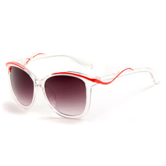 Fashion style women colorful frame sunglasses Women anti-UVsunglasses (Red Grey)