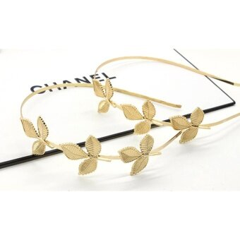 Fashion Three Leaves Hair Bands Headdress Jewelry Party Golden Leaf Headband - intl