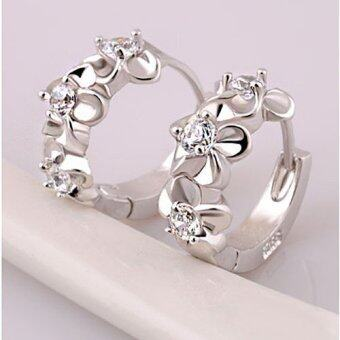 Fashion Women Silver Flower Plated Rhinestone Stud Earrings Hoop Jewelry- - intl
