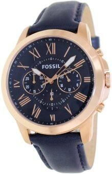 Fossil Grant Navy Blue Watch Leather Strap FS4835 - Navy Blue