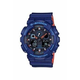 ประเทศไทย G-SHOCK นาฬิกาข้อมือสำหรับผู้ชาย รุ่น GA-100L-2ADR(CMG)-สีน้ำเงิน/ส้ม