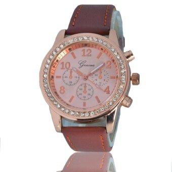 GENEVA Women Watch สายหนัง นาฬิกาข้อมือผู้หญิง ตัวเรือนทอง สายหนัง ราคาถูก PU Leather รุ่น G-Pink Gold หนัง