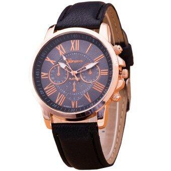 GENEVA Women Watch นาฬิกาข้อมือผู้หญิง สายหนัง รุ่น WATCH X003 - Black