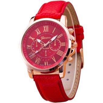 GENEVA Women Watch นาฬิกาข้อมือผู้หญิง สายหนัง รุ่น WATCH X003 - Red