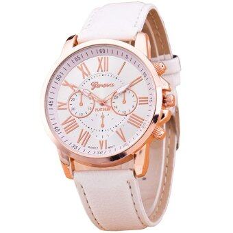 GENEVA Women Watch นาฬิกาข้อมือผู้หญิง สายหนัง รุ่น WATCH X003 - White