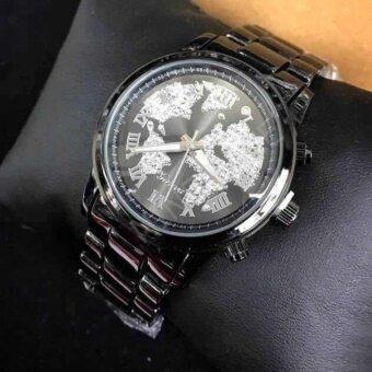 Geneva นาฬิกาข้อมือผู้หญิง บอยไซส์ ลายแผนที่คริสตัล รุ่น WP8528 (Black) แถมซองนาฬิกาสุดหรู