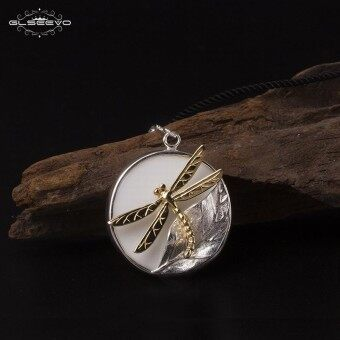 GLSEEVO 925 Sterling Silver Dragonfly Womens Necklace White Ceramics Leaf Pendant Necklace Handmade Jewelry Kolye GN0020 - intl
