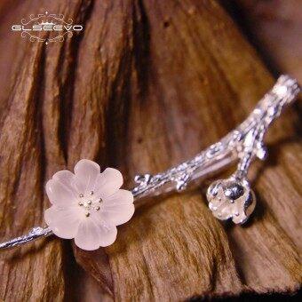 GLSEEVO Real 925 Sterling Silver Crystal Flower Brooch Bud Tree Womens Pins Or Brooches Mujer Joyeria Handmade Luxury GO0002 - intl