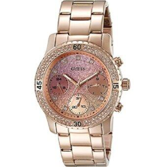 GUESS Women's U0774L3 Rose Gold-Tone Watch with Pink Multi-FunctionDial(Black)