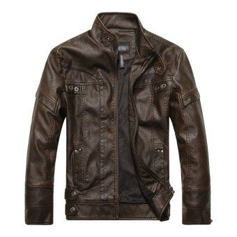HAOFEI Mens Leather Motorcycle Coats (Brown) รูบที่ 1