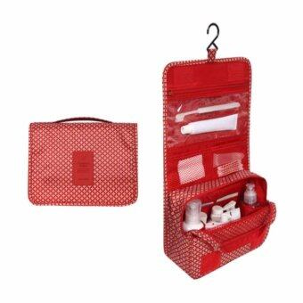 Healthy clup กระเป๋าใส่ของใช้ในห้องน้ำ กระเป๋าใส่อุปกรณ์อาบน้ำแบบแขวน สีแดง ลายดาว toiletry bag
