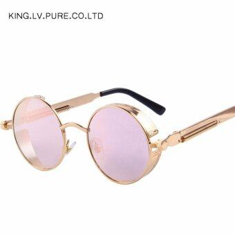 Harga Men Women Fashion Glasses Round Metal Sunglasses Steampunk Retro Vintage Sunglasses UV400 - intl