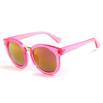 Harga Children colorful lenses Fashion sunglasses anti-UV sunglasses (Pink)