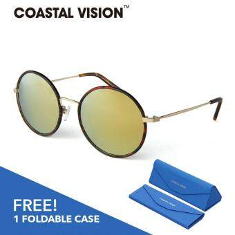 Harga COASTAL VISION Polarized Women Brown sunglasses Round anti UVA/B lenses CVS5816