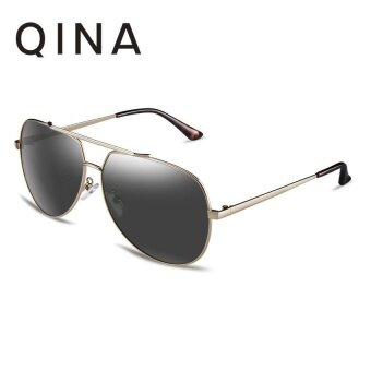 Harga QINA Polarized Women Light Gold Sunglasses Pilot UV 400 Protection Grey Lenses QN3521 - intl