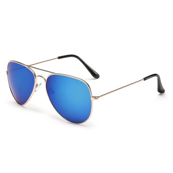 Harga Women Sport sunglasses Fashion round multicolor lenses sunglasses (gold blue)