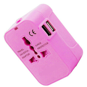 Harga High Quality universal adapter plug global multi-function socket adapter travel converter plug 5 Different Input Plugs Tightly Connect into 1 Adaptor(pink)