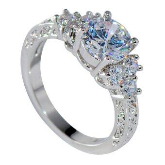 Harga Splendent Women/Men Zircon Silver Wedding Ring Anel Aneis Filled Engagement - intl