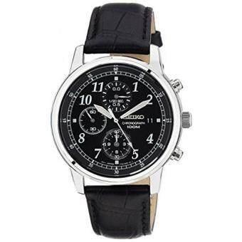 Harga GPL/ Seiko Mens SNDC33 Classic Black Leather Black Chronograph Dial Watch/ship from USA - intl