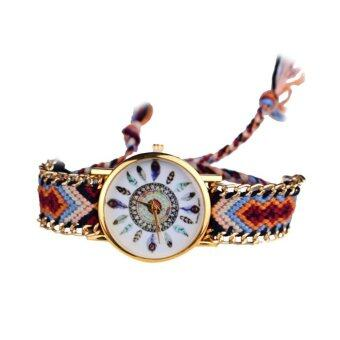 Harga Fashion Feather Figure Weaving Lady Bracelet Table Watch