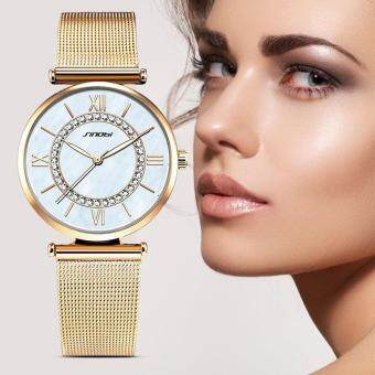 Harga SINOBI Fashion Women's Diamonds Wrist Watches Mother of Pearl Dial Mesh Steel Bracelet Wristwatch - intl