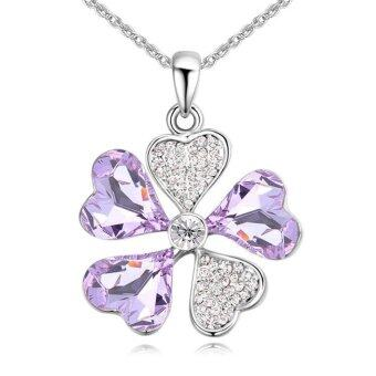 Harga Fashion Crystal Clover Pendant Necklace For Women Rhodium Plated Chain Collier Best Gifts Made With SWAROVSKI Elements - intl