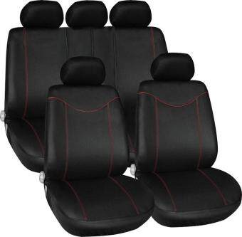 Harga Beau 11 pcs Full Seat Cover Set Car Seat Cover Low Front Back Set Black + Red Edge - intl