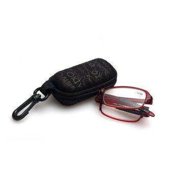 Harga tr90 folding reading glasses ultra-light fashion eyeglasses go with case +3.5 (red)