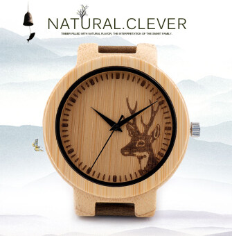 Harga BoBoBird Deer Styles Men's Luxury Brand Clock Leather Band Wooden Bamboo Wristwatches(Brown)