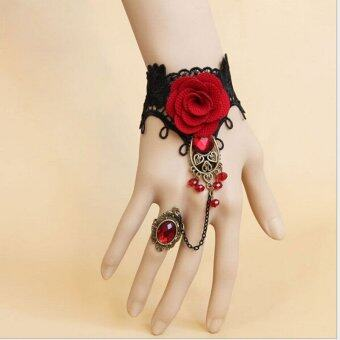 Harga Fang Fang Fashion Handmade Fashion Retro Black Lace Vampire Slave Fabric Flower Red Ring - Intl