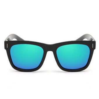 Harga TR90 100% polariod Sunglasses Men Brand Designer Black Fram mutli color lens Retro Sunglass(Blue) - intl
