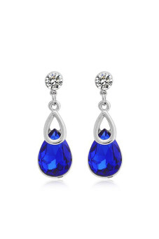 Harga ZUNCLE Korean Crystal Drop Earrings (Blue)