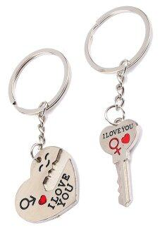 Harga I love you' Words Couple Keychain Keyring Keyfob Heart Key Valentine's Day Lover Gift - intl