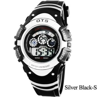 Harga O.T.S Children Student Watches Sports Night Light Digital Watch Waterproof - Silver Black S - intl