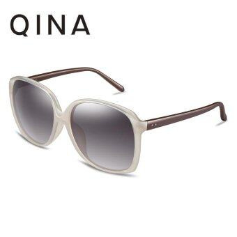 Harga QINA Polarized Women Beige Sunglasses Brown temple arms Square UV 400 Protection Grey Lenses QN3518 - intl