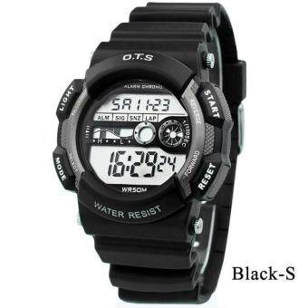 Harga O.T.S Kids Watch Casual Waterproof Electronic Chronograph Fashion Students Watch Outdoor Watch 6900 - Black (S) - intl