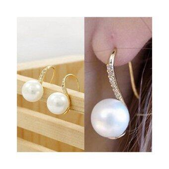 Harga Elegant Pearl Drop Earings Crystal Earings Women Pretty - intl